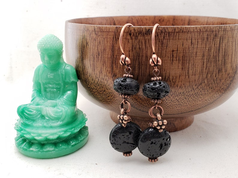 Earrings Lava Rock Copper Dangle Black rock image 0