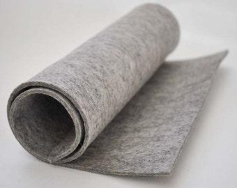 Thick Wool Felt, 3mm, 100% wool (30x50cm) - Blueben Light Grey