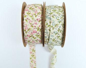 Floral cotton ribbon - 3m, choose pink or blue flowers