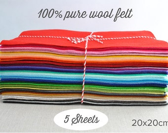 Wool Felt Squares -  Pick 5 colours - 20x20cm - 100% pure wool felt