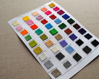 100% Wool Felt - Colour Chart