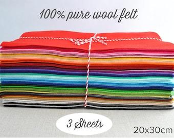 """Pure Wool Felt Sheets, 100% wool - 20x30cm (8x12""""), choose 3 colours"""