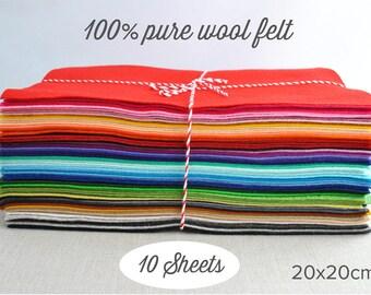 100 Percent Wool Felt Squares, 20x20cm -  Pick 10 colours