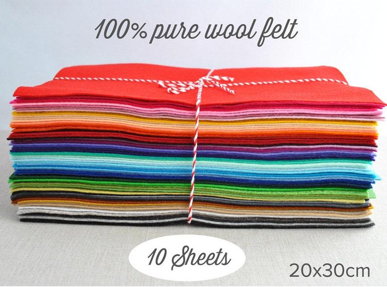 Pure wool felt sheets   20x30cm 8x12  choose 10 image 0