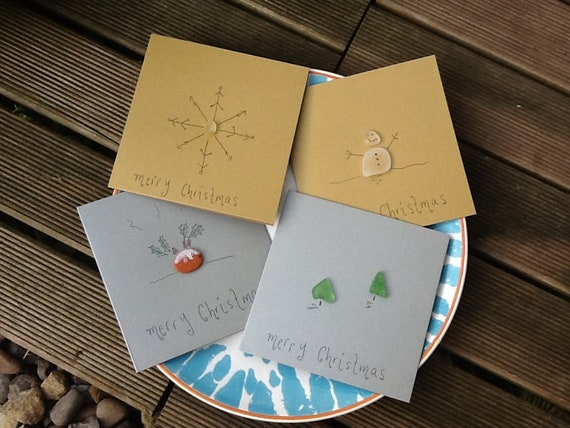 4 Sea glass Christmas cards pebble art card pack small cards gold silver  metallic Christmas pudding Christmas tree snowman snowflake card