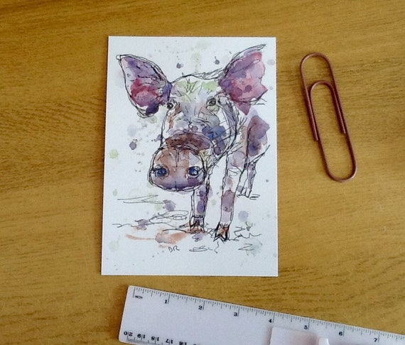 pen and watercolour print quirky style letterbox friendly gift A5 pig line drawing postcard farm animal art to frame art card