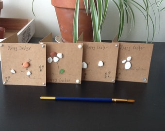 Beach pebble cards, Easter cards, mini Kraft, small note cards, pebble bunny, pebble lamb, pebble daisy, hen and chick, handmade, quirky set