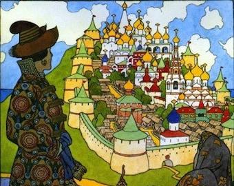 Fabulous Russian Art Print of Buyan Island and Fortress