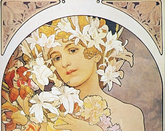 ART NOUVEAU Print Named FLOWER by Alphonse Mucha 1897