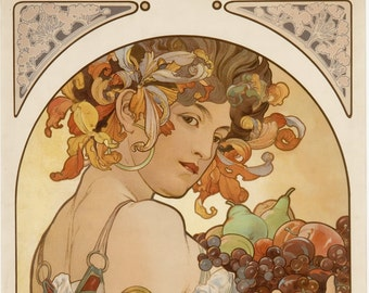 ART NOUVEAU Print Named FRUIT by Alphonse Mucha 1897