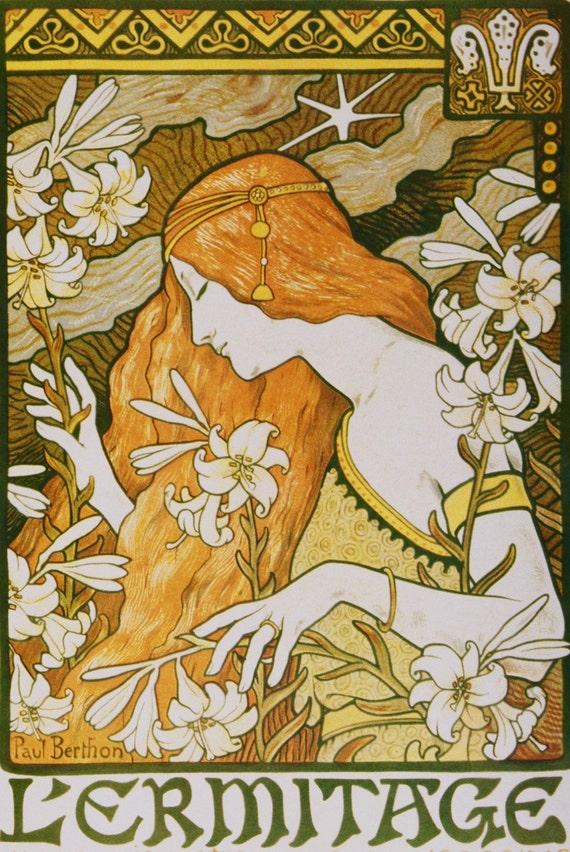 Wall Decor Art Nouveau L Ermitage Print By Paul Berthon Etsy