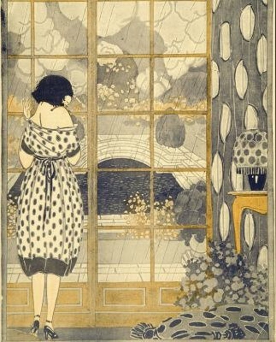Art Nouveau Gift Art Deco Home Decor Print Of Girl Gazing Out Etsy