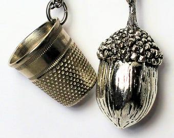 Acorn Thimble Couples Stainless Steel NecklacesPeter Pan Wendy Hidden Kisses for Men, Women, Sweetheart, Lover, Sister, Best Friend