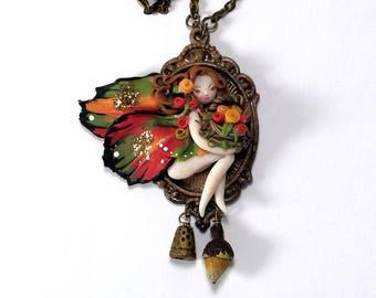 Peter Pan Tinkerbell Harvest Fairy Necklace Acorn Thimble Hidden Kisses