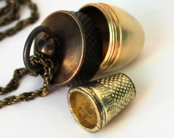 Acorn and Hidden Thimble Kisses Peter Pan Jewelry and Wendy Necklace V In Shiny and Antiqued Brass