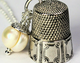 Peter Pan Necklace Acorn and Thimble Hidden Kisses Sterling Silver and Natural Freshwater Pearl