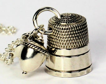 Acorn and Thimble Peter Pan Kisses Necklace in Solid Sterling Silver
