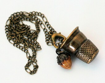 Acorn and Thimble Kisses Necklace - Peter Pan and Wendy Handpainted and Brass