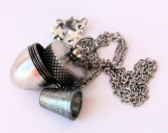 Acorn and Hidden Thimble Kisses Peter Pan Jewelry and Wendy Necklace VII In Shiny and Antiqued Silver With Stainless Steel Chain