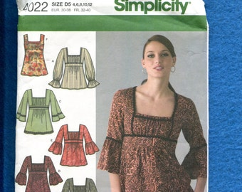 Simplicity 4022 Trendy Peasant Blouses with Empire Waist Size 4 to 12 UNCUT