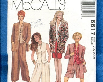 McCalls 6617 Strong Shoulder Jacket Fitted Raised Neckline Vest & Wide Leg Pleated Pants Size 4..6..8 UNCUT
