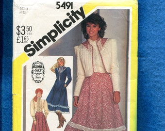 efb3a49afc0ccf 1982 Simplicity 5491 Gunne Sax Bolero Jacket Blouse   Skirt all Trimmed in  Ruffled Lace Size 6 UNCUT