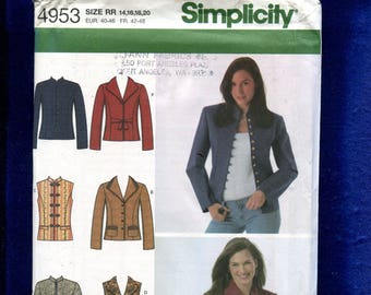 Simplicity 4953 Uptown Girl Jackets & Vests Pattern Size 14 to 20 UNCUT