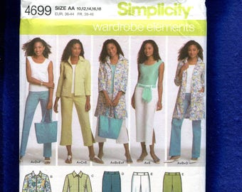 Simplicity 4699 Modern Resort Wear Pattern Size 10 to 18 UNCUT