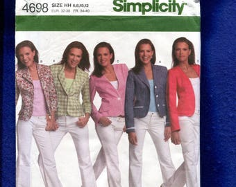 Simplicity 4698 Uptown Girl Jackets Size 6 to 12 UNCUT