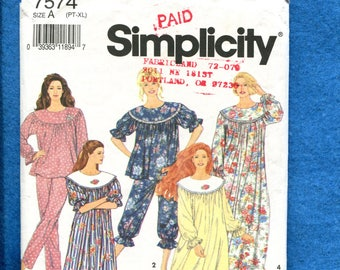 Simplicity 7574 Country Comfort Round Yoke Nightgown   Pajamas Size P to XL 088e5a36f