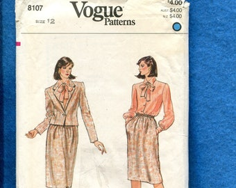 1980s Vogue 8107 Retro Short Waist Jacket Straight Skirt & Sweet Blouse Pattern Size 12 UNCUT