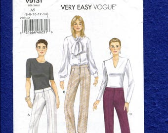 Vogue 9131 Slim Leg Pants with Below the Waist Band Size 6 to 14 UNCUT
