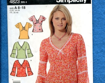Simplicity 4823 Boho Tops with Awesome Sleeves Size 8 to 18 UNCUT
