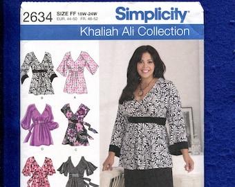 e3aa077f9e7 Simplicity 2634 Khaliah Ali Empire Waist Tunics Pattern Size 18W to 24W  UNCUT