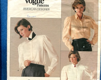 Vintage 1980s Vogue 1211 Calvin Klein Romantic Blouses with Stand Up Collars & French Cuffs  Size 12