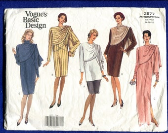 0d0f70321d775 Vogue 2577 Stunning Shawl Draped Evening & Cocktail Dresses Pattern Size  14..16..18