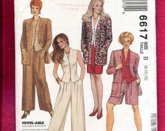 McCalls 6617 Strong Shoulder Jacket Fitted Raised Neckline Vest & Wide Leg Pleated Pants Size 8  10 12 UNCUT