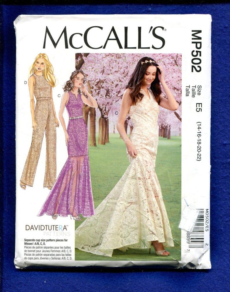 4a7417370eb24 McCalls 502 David Tutera Flounce Train Wedding Dress Pattern | Etsy