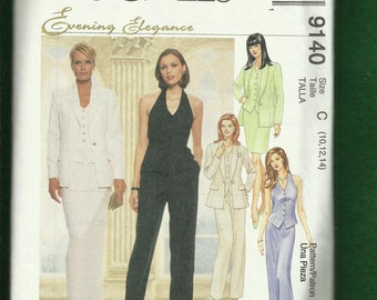 McCalls 9140 Evening Suit with Halter Vest Top Skirt & Pants Sizes 10..12..14 UNCUT