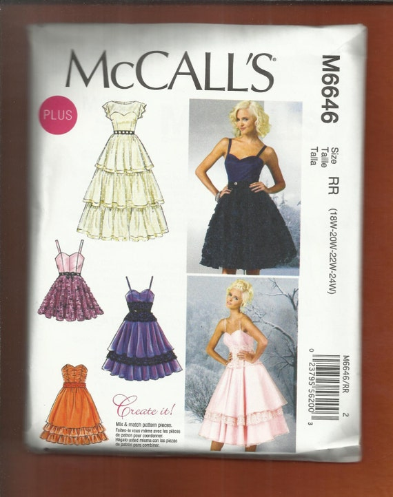 McCalls 6646 Sweetheart Fitted Bodice Dresses with Ruffles | Etsy
