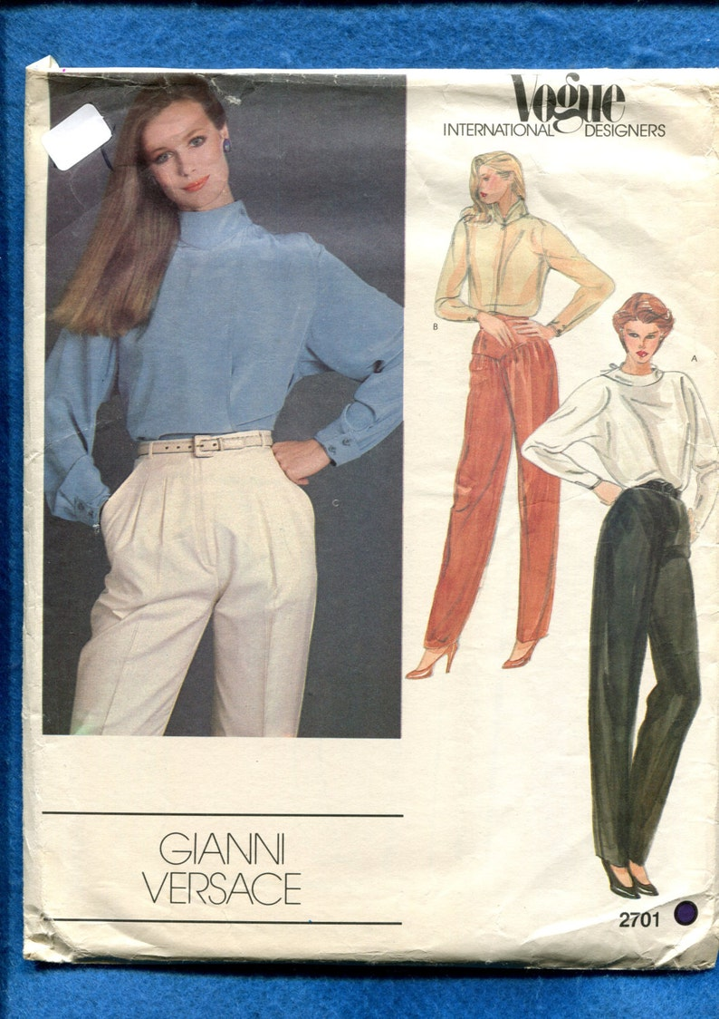 5634555481ae4a 1980's Vogue 2701 Designer Gianni Versace Blouses Pattern | Etsy