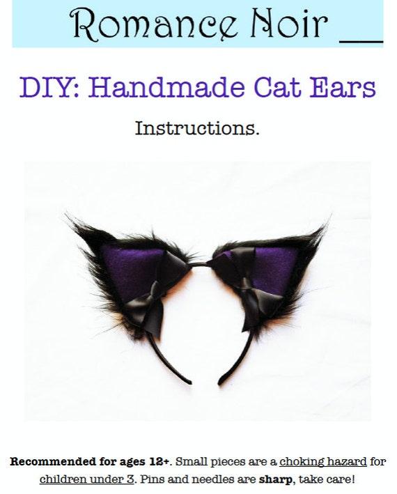 Diy Kit Handmade Cosplay Cat Ears Headband Black Fur Purple Etsy