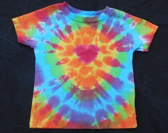 Rainbow Red Heart Tie Dye Baby Shirt- 24 Month  #151