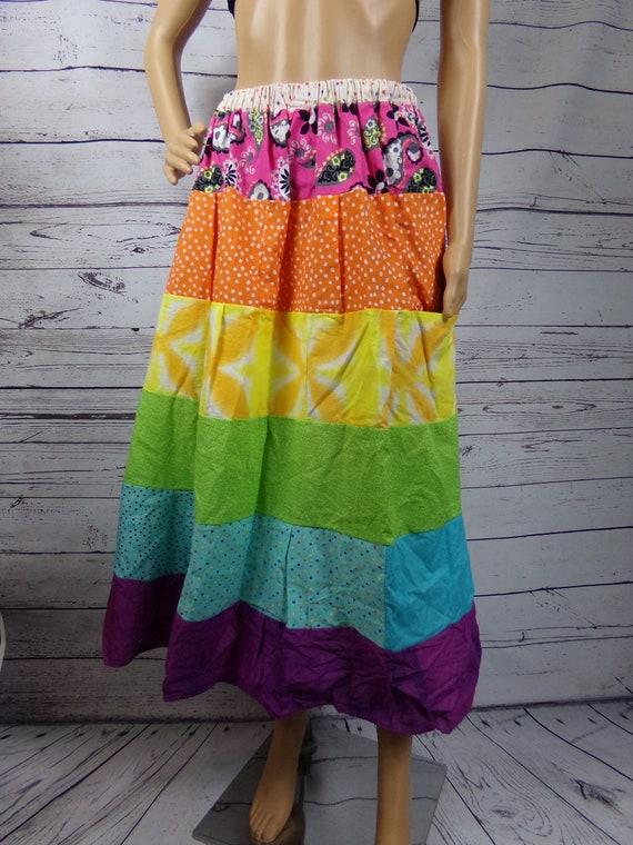 Rainbow Patchwork Cascade Hippie Full Medium Skirt with Pockets