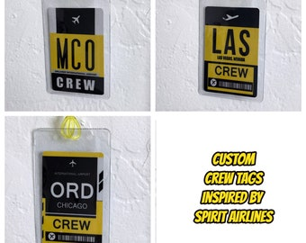Personalized Custom Crew Tag inspired by Spirit Airlines Color Palette