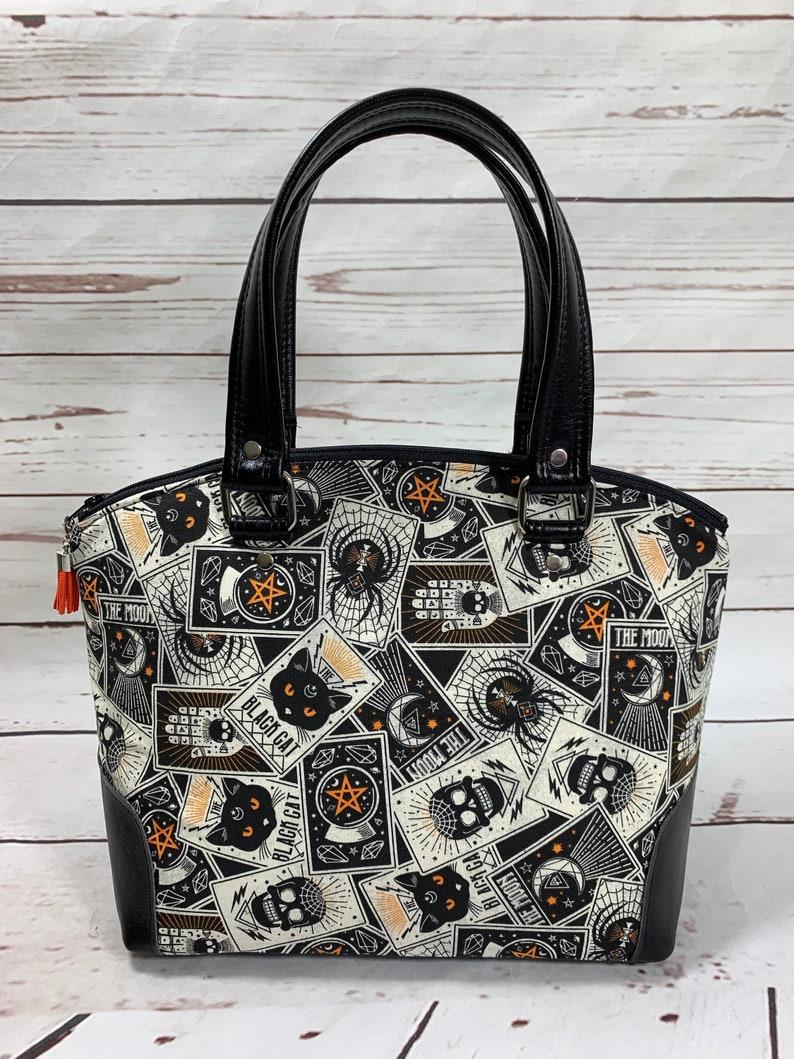 Dome Handbag Black Cat Skulls Spider Halloween Tarot image 0