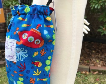 Under the Sea in My Red Submarine Adjustable Water Bottle Bag