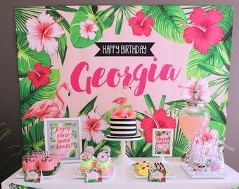 FLAMINGO Backdrop Design for Birthday Party - Tropical Style. Beach or Aloha Party. Printable File. Choose Your Size. Print Your Own.