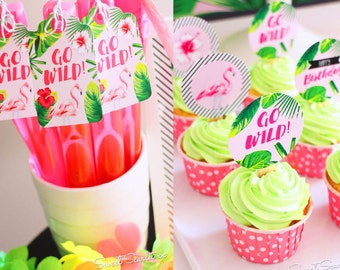 FLAMINGO Printable Set - Tropical Birthday Party - Non-personalized - Includes Cupcake Toppers, Bunting, Bottle Labels and more