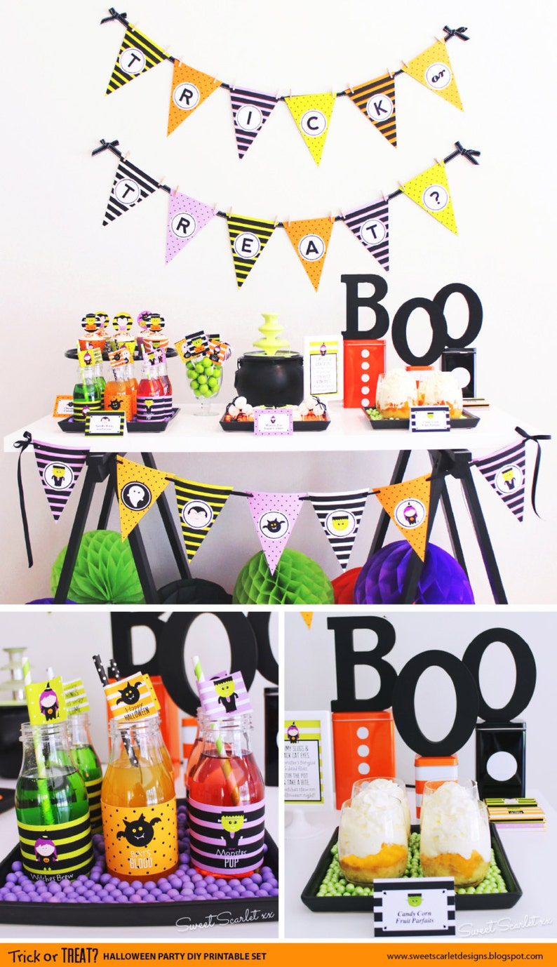 image regarding Trick or Treat Signs Printable named HALLOWEEN Printable Established - Trick or Address cupcake toppers, want tags, occasion signs and symptoms, bag toppers